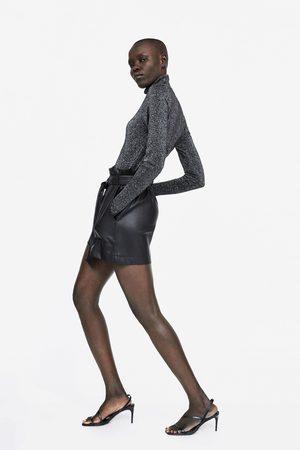 Zara FAUX LEATHER PAPERBAG WAIST BERMUDA SHORTS