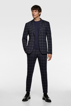 Zara Windowpane check suit trousers
