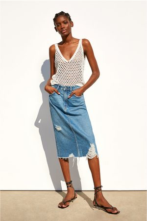 Zara Ripped denim skirt
