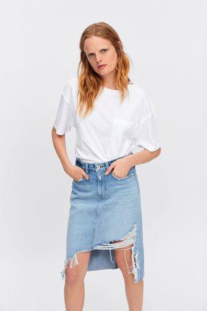 Zara Ripped denim pencil skirt