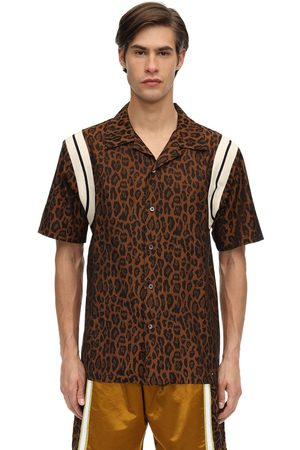 JUST DON Leopard Print Cotton Bowling Shirt