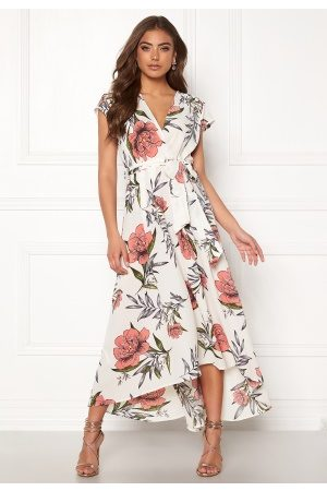 Ax Paris Floral Waterfall Dress Cream M (UK12)