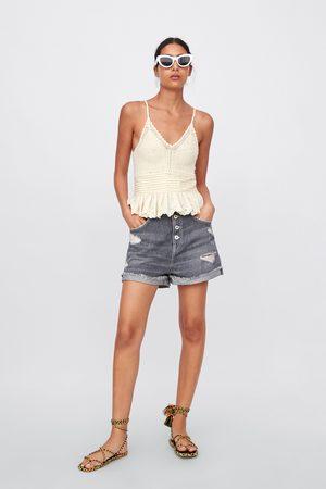 Zara Ripped denim shorts with turn-up hems