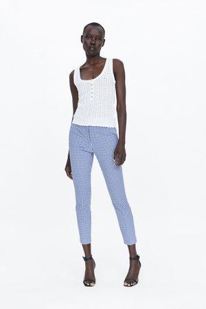 Zara Naiset Housut - Gingham jogger waist trousers