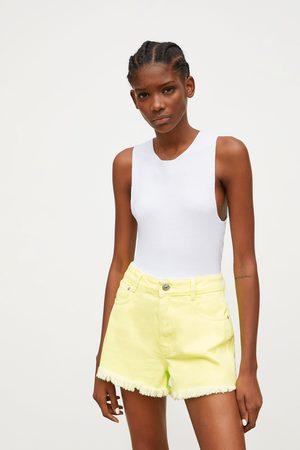 Zara Neon mid-rise denim shorts