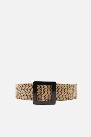 Zara Two-tone raffia belt