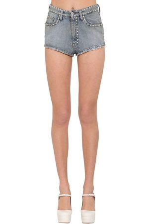 Miu Miu Naiset Farkkushortsit - Crystal Embellished Cotton Denim Shorts