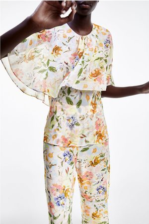 Zara Naiset Topit - Floral print top
