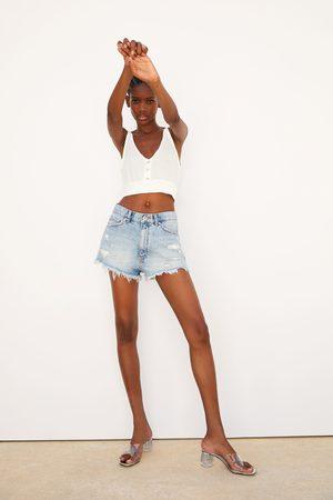 Zara Naiset Shortsit - Ripped denim hi-rise shorts