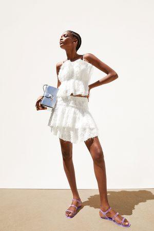 Zara Textured mini skirt with ruffle trim