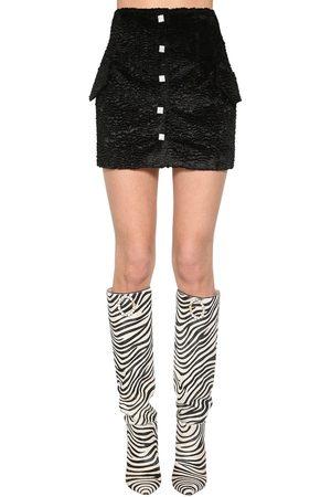 GIUSEPPE DI MORABITO Faux Astrakhan Mini Skirt