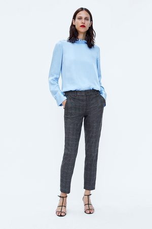Zara CHECKED CHINO TROUSERS