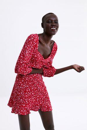 Zara Floral print dress with ruffle