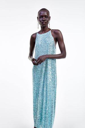 Zara Sequinned halter neck dress