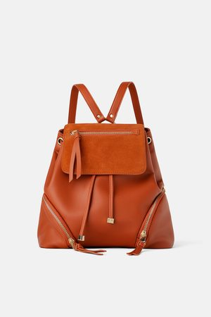 Zara Naiset Reput - Leather backpack with flap