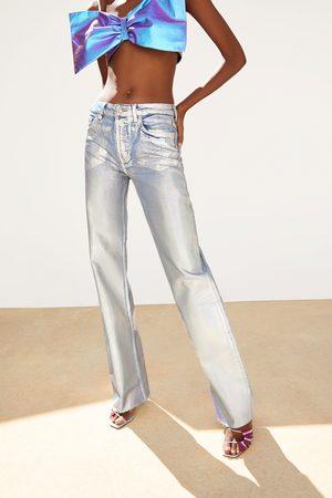 Zara Iridescent wide-leg denim jeans