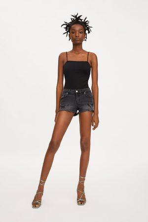 Zara Low-rise hot pant denim shorts