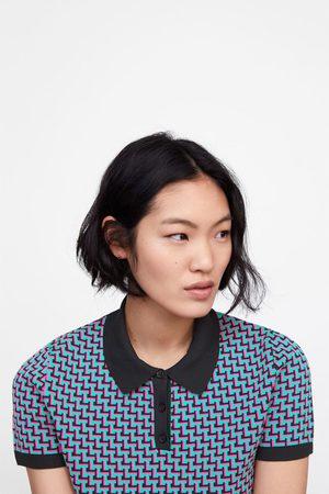 Zara Geometric jacquard knit polo shirt