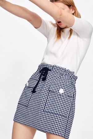 Zara Gingham check mini skirt