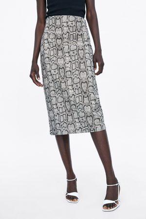 Zara Snakeskin print pencil skirt