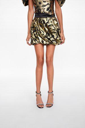Zara Metallic thread mini skirt