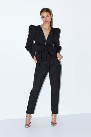 Zara Puff sleeve jacket with tie fastening
