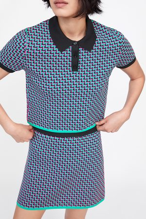 Zara Geometric jacquard knit mini skirt