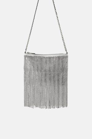 Zara Metallic diamanté crossbody bag