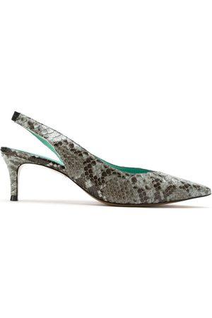 Blue Bird Shoes Python slingback pumps