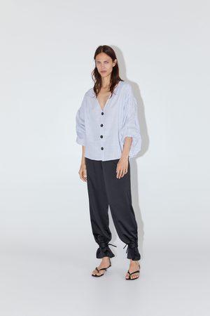 Zara Striped voluminous sleeve top