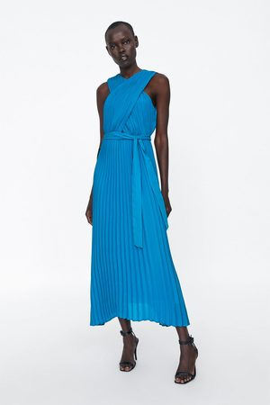 Zara Pleated cross-neck halter dress
