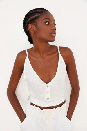 Zara Naiset Topit - Buttoned textured top