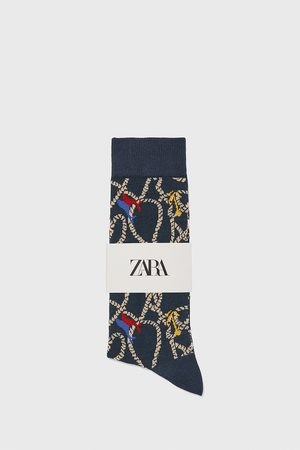 Zara Nautical jacquard mercerised cotton socks