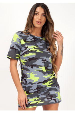 Fiorellashop Camouflage Boyfriend Oversize T-shirt In Neon Green