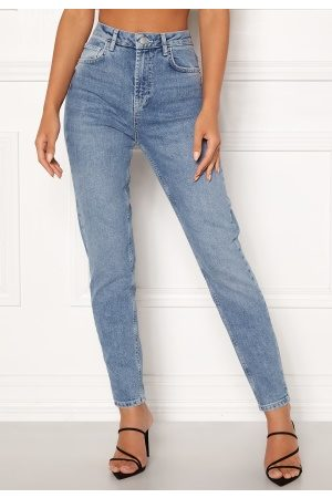 Pieces Leah Mom HW Ankle Jeans Light Blue Denim XS