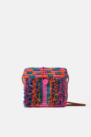 Zara Multicoloured raffia crossbody bag