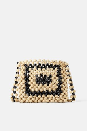 Zara Contrast beaded crossbody bag