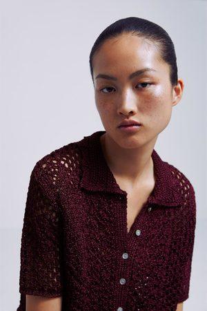 Zara Crochet polo sweater