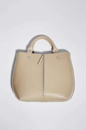 Zara Naiset Isot laukut & ostoslaukut - Leather tote bag with zip detail