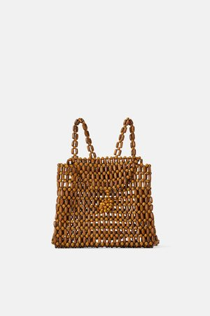 Zara Naiset Reput - Backpack with small wooden balls