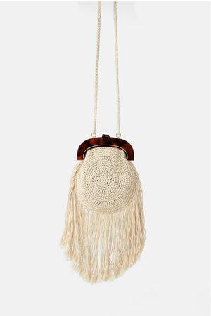 Zara Crochet crossbody bag with tortoiseshell clasp