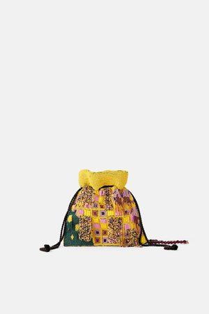 Zara Beaded crossbody bucket bag