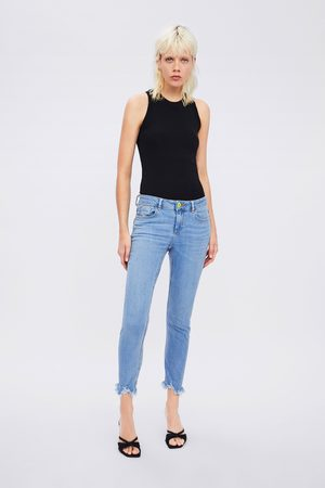 Zara Mid-rise skinny z1975 jeans with neon button