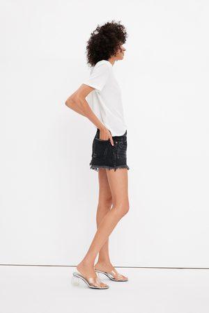 Zara Ripped denim mid-rise shorts