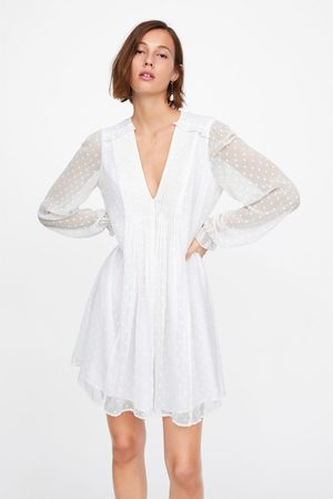 Zara Dotted mesh mini dress