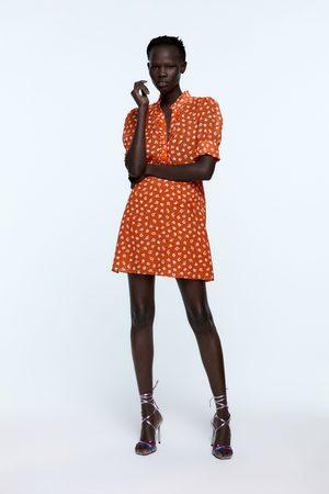 Zara Floral print dress with rhinestone buttons