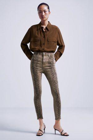 Zara Jeans zw premium skinny fade out snake print