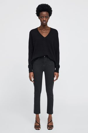 Zara Naiset Kapeat Housut - Z1975 skinny jeans with side taping