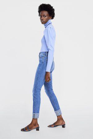 Zara High rise skinny z1975 jeans with turn-up hems