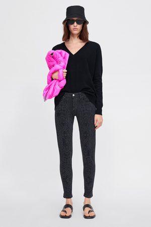 Zara Z1975 animal print skinny jeans